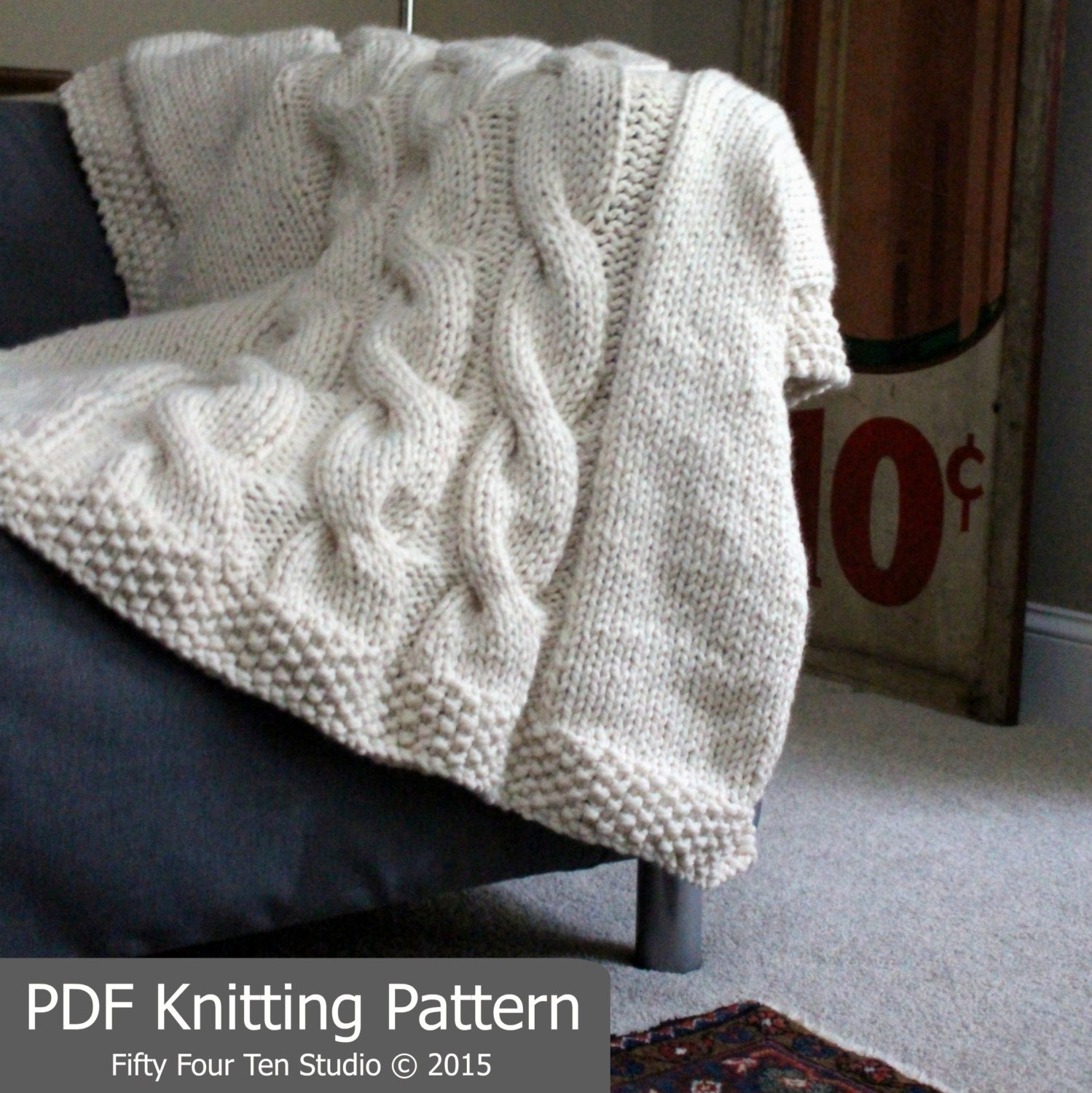 Knitting Pattern For A Throw Blanket : KNITTING PATTERN / Blanket / Throw / Cable Knit / Super Bulky