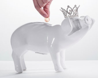 """Piggy bank With Crystal Tiara Removable Coin Stop Ceramic finish - 12"""" Long"""