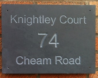 Personalised Deep Engraved Slate House Sign