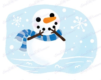 Digital Download Clipart - Snowman with Carrot Nose and Scarf JPEG and PNG files