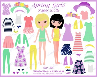 Digital Download Clipart – Paper Dolls with Interchangeable Outfits and Accessories JPEG and PNG files