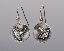 Ginkgo Leaf Earrings: sterling silver, handmade, wholesale orders welcome
