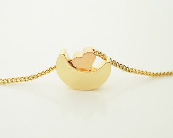 234. Gold plated Crescent Moon & Pink Gold Plated Tiny Cute Heart pendant necklace