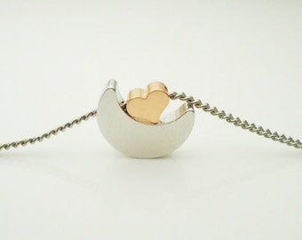 235. Silver color Crescent Moon & Pink Gold Plated Tiny Cute Heart pendant necklace