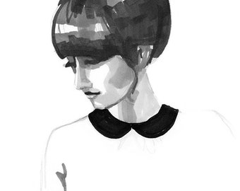 Art Print of Original Drawing of a Fashion Girl with Bangs