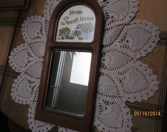 "Arch shaped Wood Mirror & Embroidered Top *Home Sweet Home* / hangs from the back - 12 3/4"" x 5""/ For Any Room /Sweet And Homey Styley"