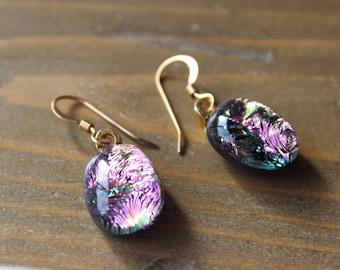 90s 14k Gold Filled Iridescent Dangle Earrings