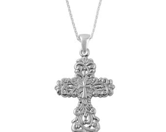Cross Sterling Silver Charm Necklace, CRS3-6118