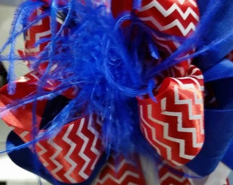over the top hair bow July 4th