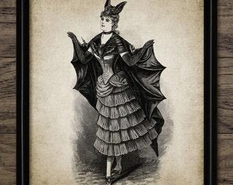 Vintage Bat Lady Print - Bat Woman Art - Fancy Dress Design - Bat Costume - Vintage Ladies Fashion - Single Print #1244 - INSTANT DOWNLOAD