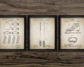 Vintage Ice Hockey Patent Set Of 3 Prints - Vintage Ice Hockey - Ice Hockey Player - Set Of Three Prints #901 - INSTANT DOWNLOAD
