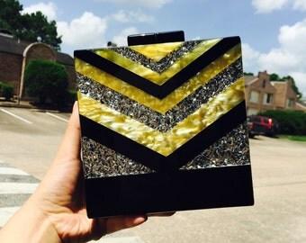 Women Zig Glitter Acrylic Box Evening Clutch Bags Purses