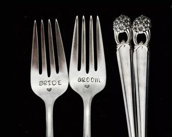 Stamped Fork,  Bride Groom Wedding Engagement Gift, Something Old Vintage Dessert Salad Forks, Eternally Yours Hand Stamped Flatware