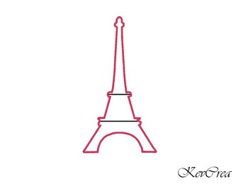 Eiffel tower- Paris - machine embroidery applique and filled design, download - for hoop 4x4, 5x7 and 6x10