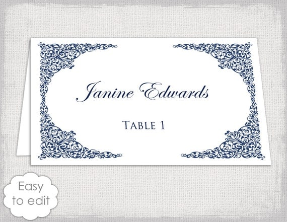 Place Card Template Navy Lace Wedding Place Card Templates