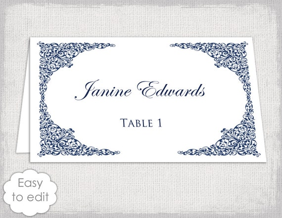 Place card template navy lace wedding place card templates for Templates for place cards for weddings