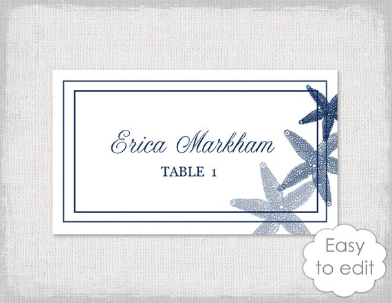 beach escort card template navy blue starfish. Black Bedroom Furniture Sets. Home Design Ideas