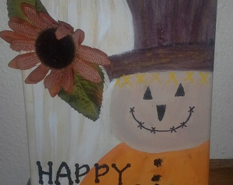 Hand Painted Primitive Style Scarecrow Wall Hanging