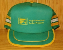 ANGLO AMERICAN CEDAR Products Original Vintage 80s Side Striped Green Mesh Trucker Snapback Hat Roofing Shakes Shingles Cap Sidewall Ballcap