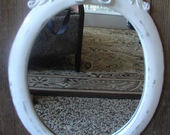 Shabby Cottage Chic White,  Oval Mirrror,  Aged, Distressed