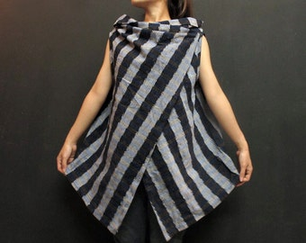Hand dyed cotton- Blue Navy Stripe-Asymmetric Tunic