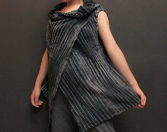Hand dyed cotton- Black-Gray Stripe-Asymmetric Tunic