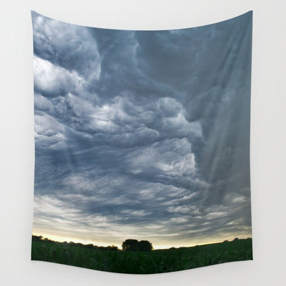 Wall Tapestry, Nebraska Landscape, Storm Clouds, Corn Field, Farm Photography, Dramatic Images, Indoor Wall Hanging, Outdoor Art