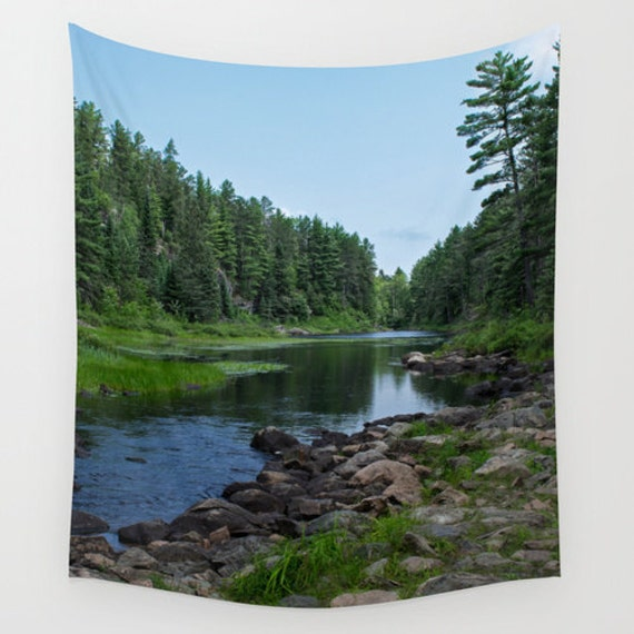 Wall Tapestry, Minnesota Images, Boundary Waters, Portage Photos, Nature Photography, Blue and Green, Natural Colors, Evergreen Forest