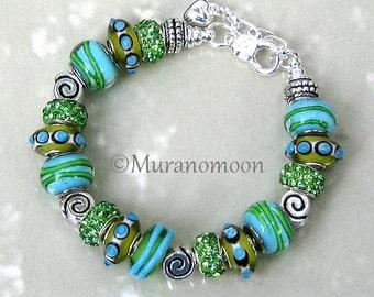 Aquamarine Blue European Charm Bracelet Aqua Green Glass Bead Large Big Hole Crystal Charm Silver Bracelet Gift For #EB1476