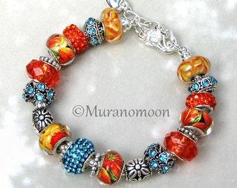 European Charm Bracelet Tangerine Orange Aquamarine Blue Crystal Bead Charms European Bracelet Tropical Florida Beaded Bracelet #EB1368