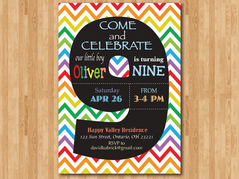 Rainbow 9th Birthday Invitation Colorful Chevron Birthday