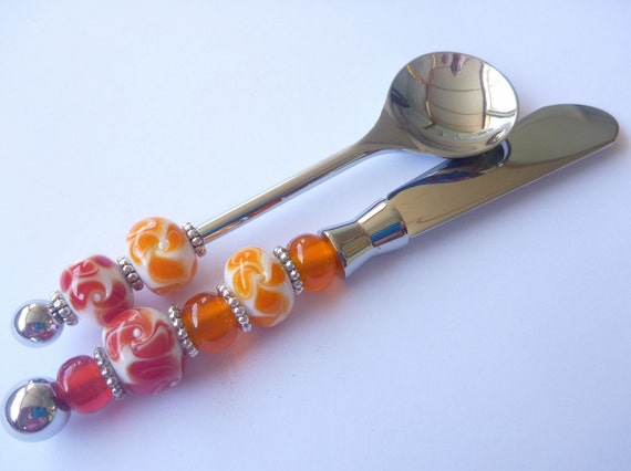 Items similar to caviar spoon canape knife set featuring for Canape knife set