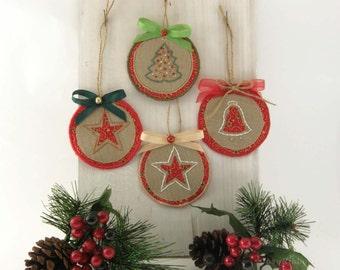 Christmas hanging Ornament - Set of 4 Hanging Christmas Decoration- Xmas Stars- Christmas Tree ornament - Hanging Christmas Tags