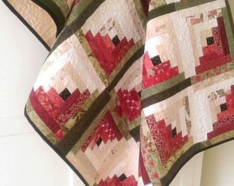 Log Cabin Quilt Pattern PDF Summer Watermelon Scrap Lap Blanket Wall Hanging Home Decor Download