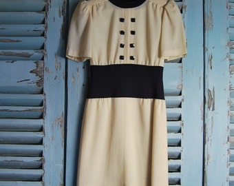 Vintage Dress By Mansfield London 1970's Fine Wool Crepe UK 10 USA 8