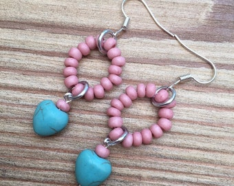 STOCK CLEARANCE-Turquoise heart and seed bead earrings