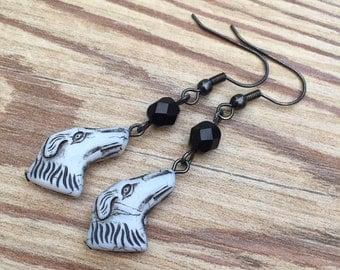 STOCK CLEARANCE- Czech glass dog earrings