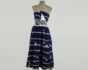 70's Vintage Victor Costa Strapless Nautical Navy Blue Dress