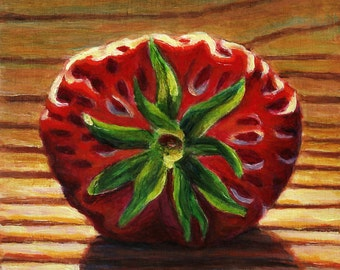 Strawberry Star. Original Oil Painting on Board. 4 x 4 inches.  Framed