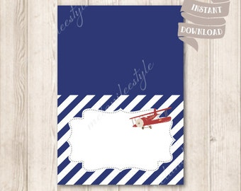 Red Airplane Food Tent Cards, Vintage Plane, Navy Blue Blank Place Cards, Baby Shower, Birthday Printable, INSTANT DOWNLOAD