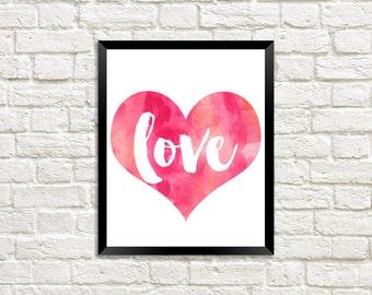 Pink Love Heart Digital Print
