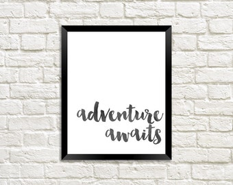 BLACK Adventure Awaits Watercolor Digital Print