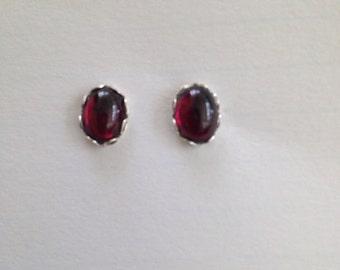 Sterling silver and rhodolite garnet January birthstone stud earrings