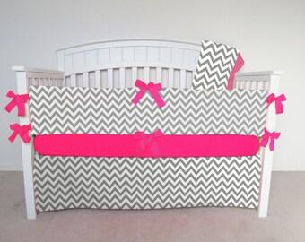 FREE SHIPPING - 4 Piece Crib Set - Chevron crib set gray and white