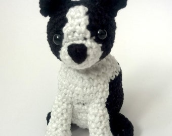 Crochet Boston Terrier, Boston Terrier stuffed animal, amigurumi Boston Terrier