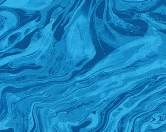 1/2 Yard Timeless Treasures Midnight Marble Texture Turquoise C3900