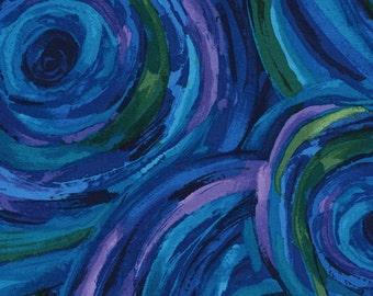 1/2 Yard Timeless Treasures Midnight Painted Swirls C3899