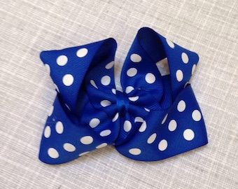 Royal blue and white polka dot hair bow