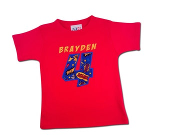 Superhero Red Birthday Shirt with Action Number and Embroidered Name