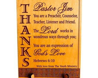 Appreciation Gift for Pastor, Pastor's Gift from Youth Ministry, Custom Thank You Gift, Pastoral Anniversary, Reverend Gift. PLP041